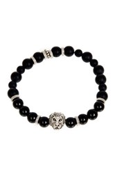 Jean Claude Agate And Onyx Bead Lion Head Stretch Bracelet Black