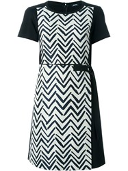 Jil Sander Navy Chevron Print Panel Dress Black
