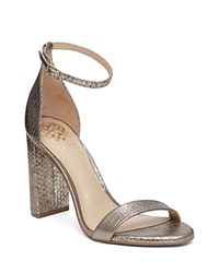 Vince Camuto Mairana Metallic Embossed Ankle Strap High Heel Sandals Gold