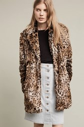 Anthropologie Kate Faux Fur Leopard Coat Brown Motif