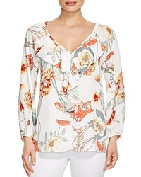 Status By Chenault Ruffled Floral Print Blouse Bloomingdale's Exclusive Ivory Peach