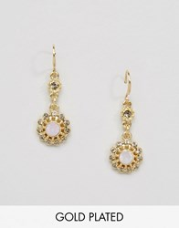 Pilgrim Flower Drop Gold Plated Earrings Gold Plated Rose