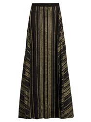 Zeus Dione Naiads Geometric Jacquard Silk Blend Skirt Black Gold