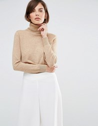 Selected Maia Long Sleeve Knitted Roll Neck Tan