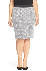 Junarose 'Sana' Print Stretch Knit Pencil Skirt Plus Size Black White