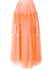 Rochas Tulle Long Skirt Yellow And Orange