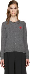 Comme Des Garcons Grey Wool Heart Cardigan