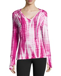 The Balance Collection Instincts Tie Dye Hooded Long Sleeve Tee Festival Fuchsia