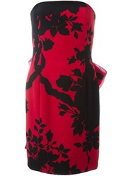 Christian Dior Vintage Floral Print Strapless Dress Red