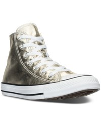 Converse Women's Chuck Taylor High Top Metallic Leather Casual Sneakers From Finish Line Light Gold White Black