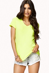 Forever 21 Neon V Neck Tee Neon Pink
