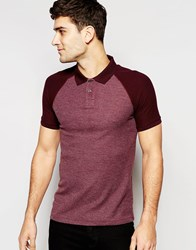 Asos Muscle Waffle Polo With Contrast Sleeves In Burgundy Red