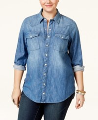 Lucky Brand Jeans Plus Size Button Down Denim Shirt Folsom