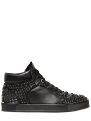 John Richmond Studded Leather High Top Sneakers