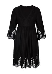 Hallhuber Eyelet Stitch Lace Dress Black