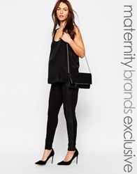 Mama Licious Mamalicious Over The Bump Leather Look Panel Legging Black