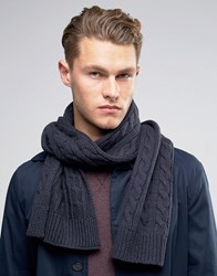 Selected Homme Scarf In Cable Knit Navy