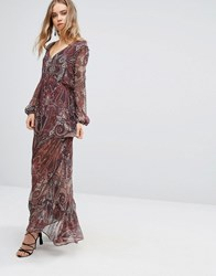 The Jetset Diaries Labyrinth Paisley Maxi Dress Labyrinth Paisley Red