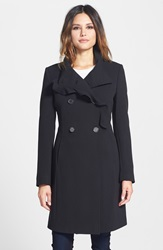 T Tahari Ruffle Trim Double Breasted Coat Online Only Black