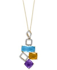 Effy Collection Effy Multi Stone 10 7 8 Ct. T.W. And Diamond 1 5 Ct. T.W. Pendant Necklace In 14K Gold