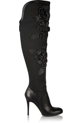 Valentino Floral Appliqued Stretch Canvas And Leather Boots Black