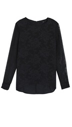 Tibi Tapestry Print Mesh Sleeve Top