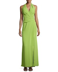Carmen Marc Valvo Crepe Halter Gown With Front Slit Women's