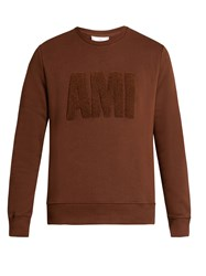 Ami Alexandre Mattiussi Logo Applique Crew Neck Sweatshirt Light Brown
