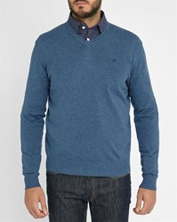 Blue Denim Hackett Logo Pima Cotton V Neck Sweater