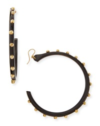 Ashley Pittman Duara Studded Hoop Earrings Dark Horn