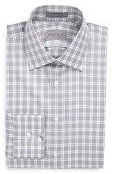 Men's Big And Tall John W. Nordstrom Signature Traditional Fit Plaid Dress Shirt Grey Shade
