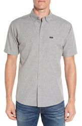 Brixton Men's 'Central' Trim Fit Short Sleeve Chambray Woven Shirt Heather Grey