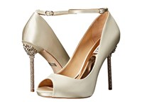 Badgley Mischka Diego Ivory Satin Women's Toe Open Shoes Bone
