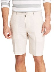 Saks Fifth Avenue Striped Linen Shorts Tan