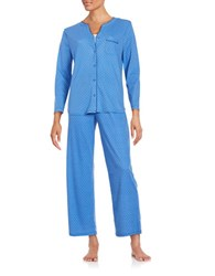 Karen Neuburger Knit Pajama Set Bright Blue