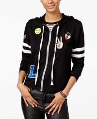 Miss Chievous Juniors' Zip Up Hoodie With Patches Black Bright White