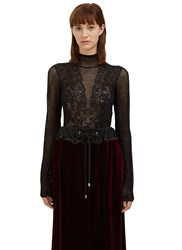 Lanvin Lace Knit Sweater Black