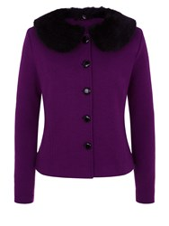 Kaliko Fur Collar Boiled Wool Jacket Purple