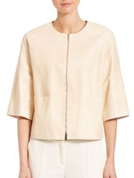 Lafayette 148 New York Cropped Lambskin Jacket Candle Light