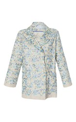 Luisa Beccaria Linen Embroidered Jacket Blue
