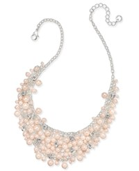 Charter Club Silver Tone Imitation Pink Pearl And Crystal Cluster Collar Necklace Only At Macy's