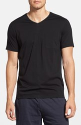 Daniel Buchler Men's Silk And Cotton Short Sleeve V Neck T Shirt Black