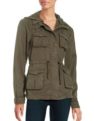 Design Lab Lord And Taylor Hooded Utility Jacket Tapenade