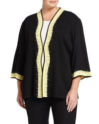 Ming Wang Plus Jacket W Wavy Contrast Placket Black Yellow