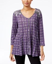 Styleandco. Style Co. Petite Printed Peasant Blouse Only At Macy's Femme Tribal Lavender
