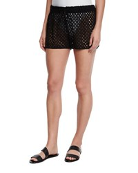 Milly Netting Gathered Crochet Coverup Shorts Black