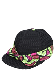 Atelier Vlisco Net Hat With Printed Scarf Black