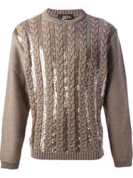 Jean Paul Gaultier Vault Sequined Knitted Jumper Brown