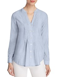 Beachlunchlounge Pintucked Cotton Shirt Blue