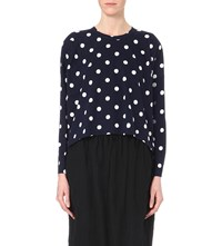 Comme Comme Des Garcons Polka Dot Print Cotton Jersey Top Navy Off White
